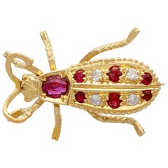 Vintage 1990s Ruby and Diamond Yellow Gold Insect Brooch