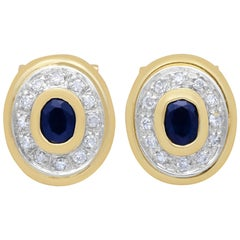 Vintage 1990s Sapphire and Diamond Yellow Gold Clip-On Earrings