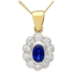 Vintage 1990s Sapphire and Diamond Yellow Gold Pendant