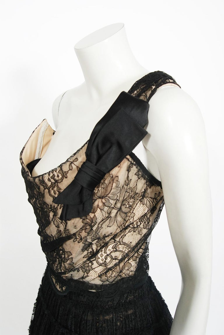 Black Vintage 1990's Vivienne Westwood Lace Corset Bustier & Sheer Pleated Skirt Set For Sale