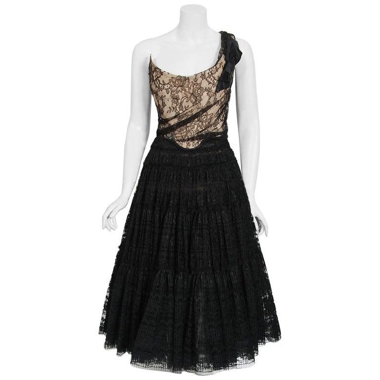 Vintage 1990's Vivienne Westwood Lace Corset Bustier & Sheer Pleated Skirt Set For Sale
