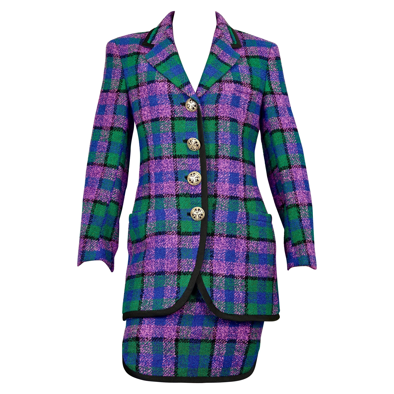 Vintage 1991 A/W GIANNI VERSACE Couture Plaid Tartan Jacket Skirt Suit