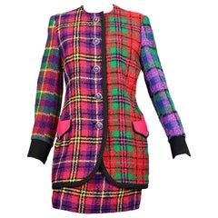 Vintage 1991 A/W GIANNI VERSACE Couture Plaid Tartan Patchwork Jacket Skirt Suit
