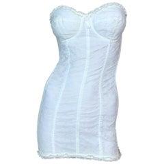 Vintage 1991 Dolce & Gabbana White Lace Pin-Up Strapless Mini Dress