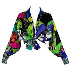 Vintage 1991 Gianni Versace Vogue Print Silk Button Down Blouse Top