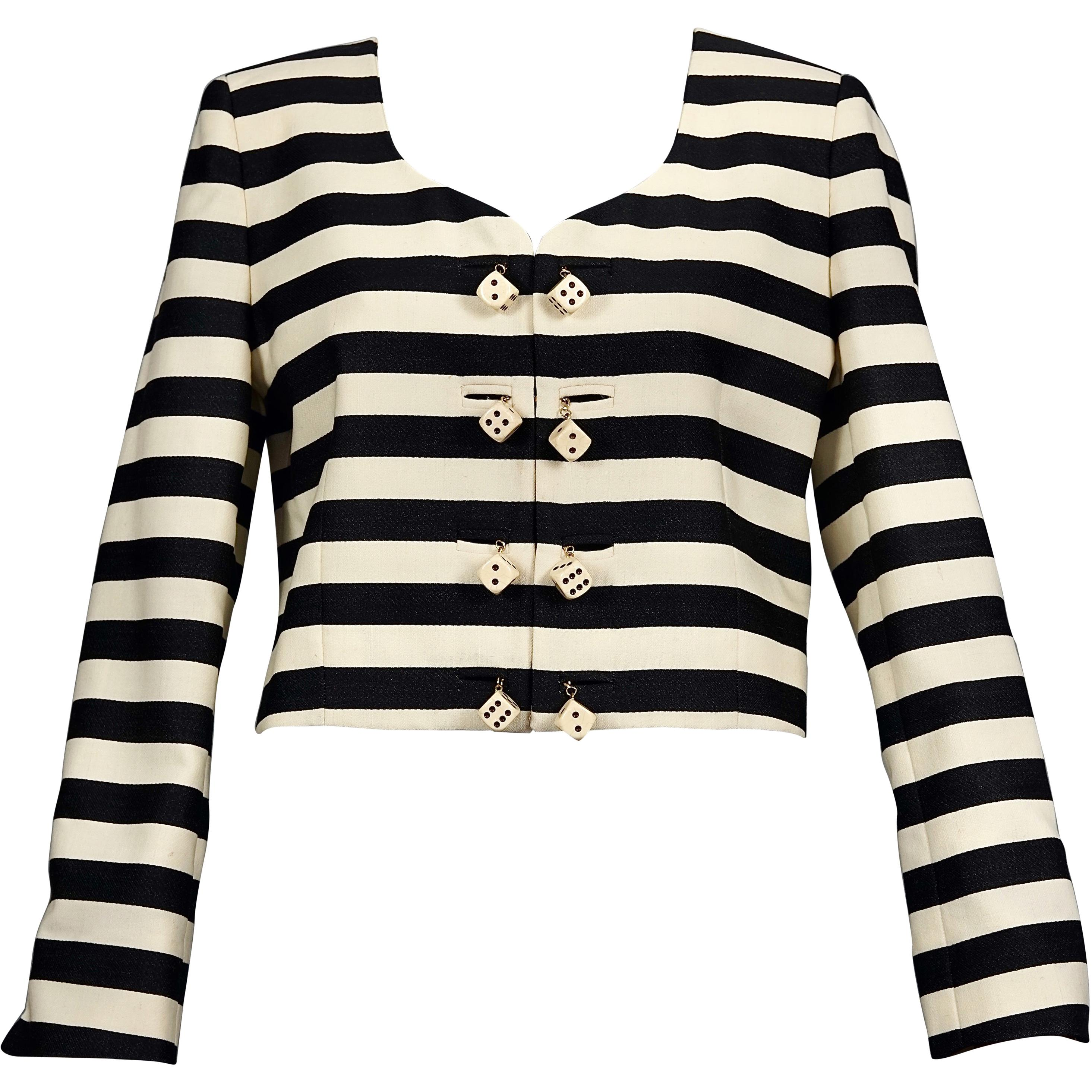 Vintage 1991 MOSCHINO Couture Dice Stripe Novelty Cropped Jacket