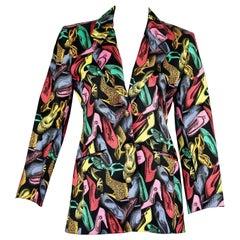 Vintage 1991 SALVATORE FERRAGAMO Multicolor Shoe Print Blazer Jacket