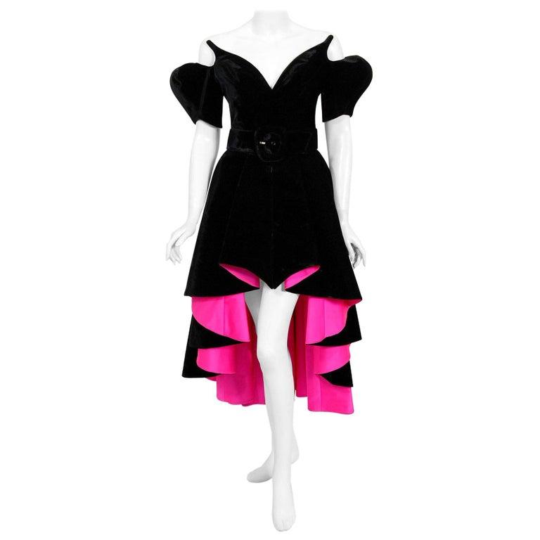 Vintage 1991 Thierry Mugler Runway Black Velvet Fuchsia-Pink Silk High Low Gown For Sale