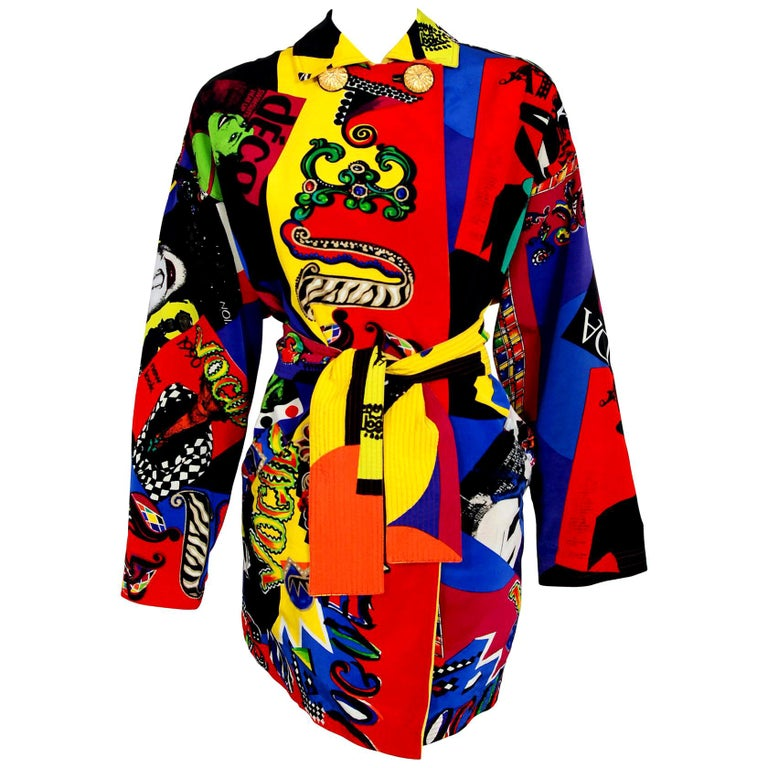 Vintage 1991 Versace Couture Colorful Vogue Print Reversible Belted Trench Coat For Sale