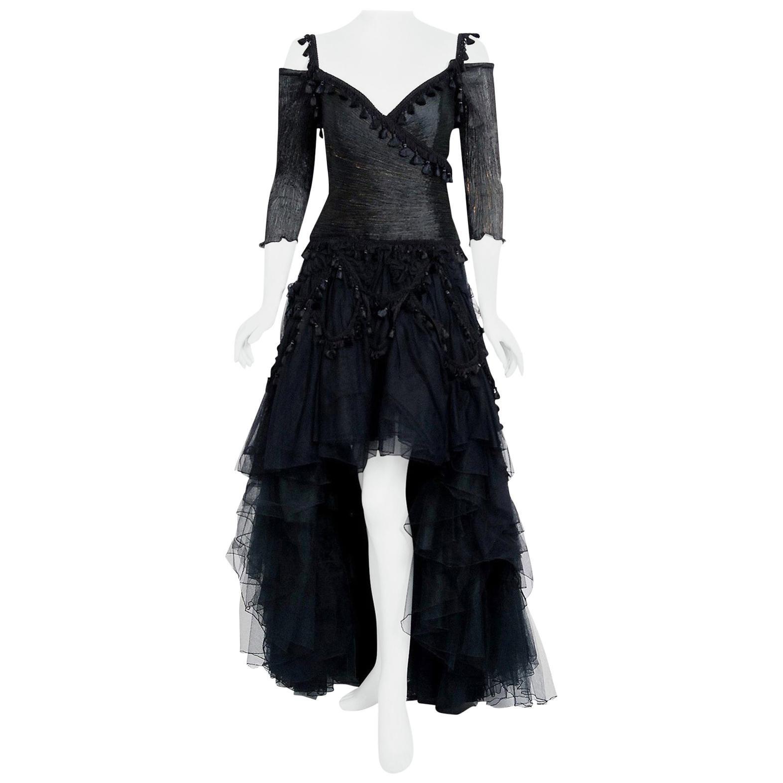 Vintage 1990's Zandra Rhodes Tulle Tassel Fringe Bare Shoulder High-Low Gown