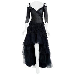 Vintage 1990's Zandra Rhodes Tulle Tassel Fringe Bare Shoulder High-Low Gown