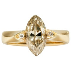 Vintage 1992, Certified 1.43 Carat Marquise Champagne Argyle Diamond Gold Ring