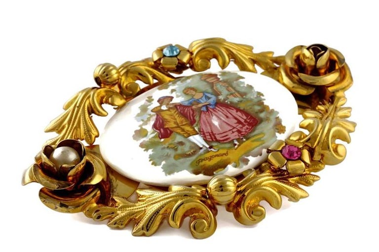 Vintage 1992 DOLCE & GABBANA Christy Turlington Porcelain Romantic Painting Brooch  Measurements: Height: 3 6/8 inches Velvet Band: 5 3/8 inches  As seen on Christy Turlington in Dolce & Gabbana Runway show.  Features: - 100% Authentic DOLCE &