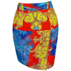 Vintage 1992 Gianni Versace Couture Baroque Novelty Palm-Trees Print Mini Skirt