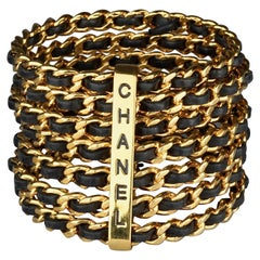 Vintage 1993 CHANEL 7 Stacked Bangles Chain Leather Wide Cuff Bracelet