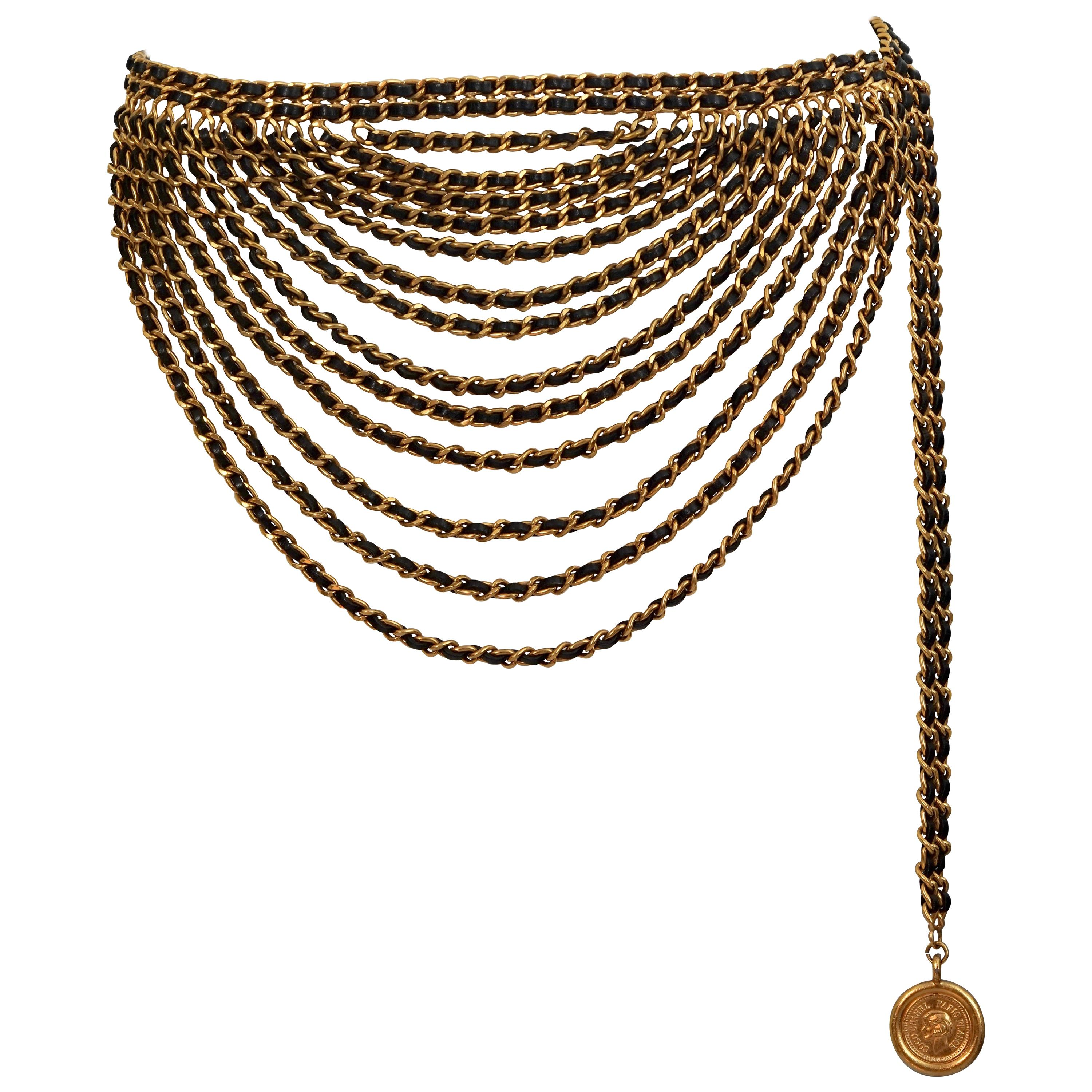 Vintage 1993 CHANEL Classic 15 Chain Leather Tiered Medallion Belt