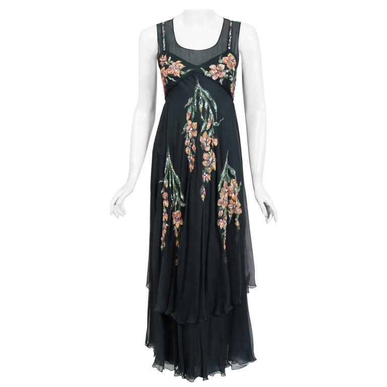 Vintage 1993 Chanel Documented Hand-Painted Sequin Floral Charcoal Chiffon Dress