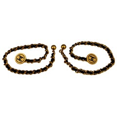 Vintage 1993 CHANEL Leather Chain CC Medallion Cufflinks Bracelet
