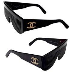 Vintage 1993 CHANEL Logo Comb Futuristic Sunglasses As Seen On Lady Gaga