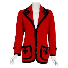 Vintage 1993 Givenchy Couture Runway Red & Black Wool Knit Shawl Collar Cardigan