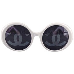 Vintage 1993 Iconic CHANEL CC Logo Lenses White Sunglasses