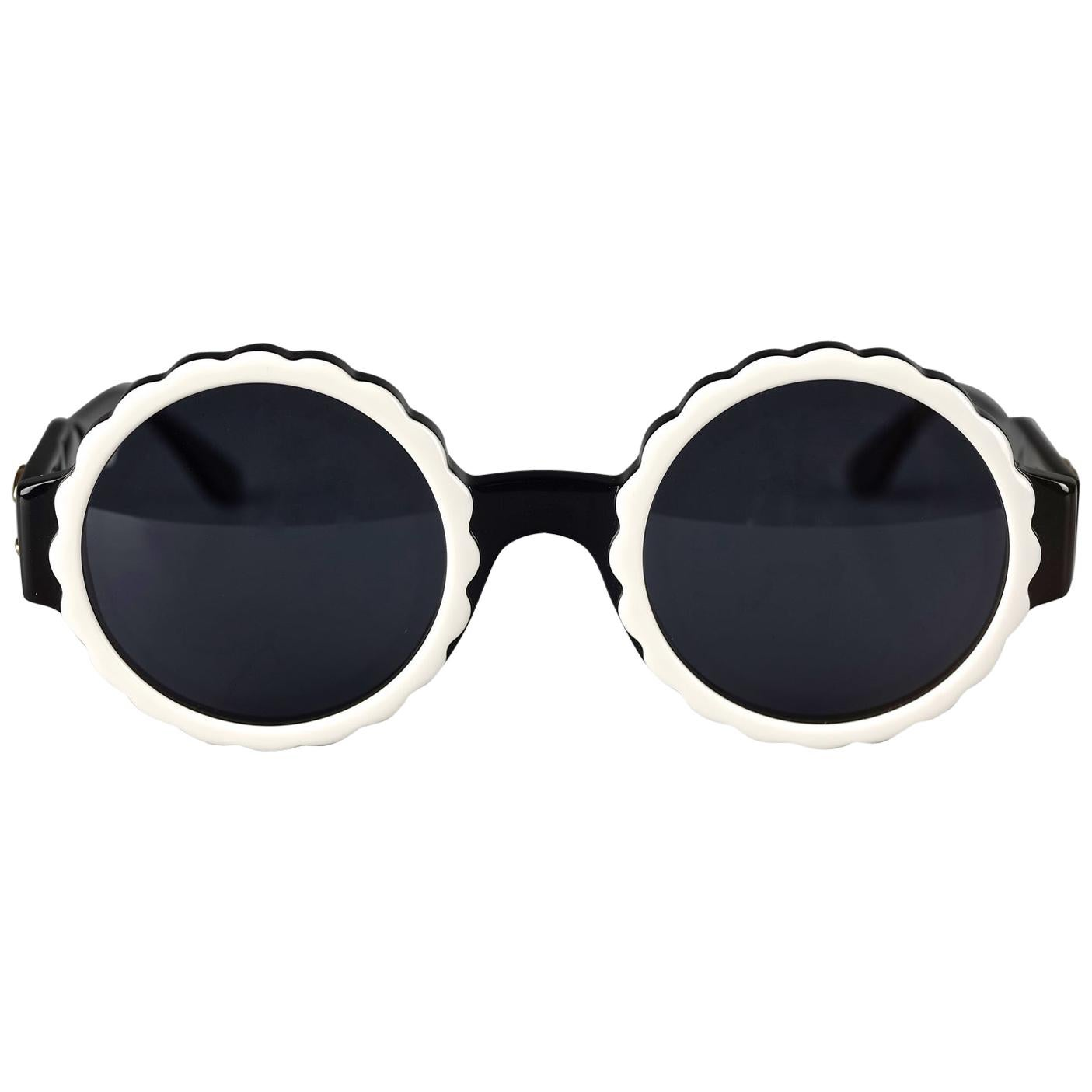 Vintage 1993 Iconic CHANEL PARIS Camellia Flower Round Sunglasses