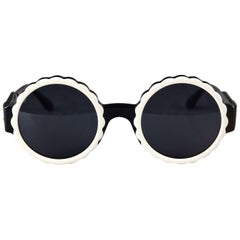 Vintage 1993 Iconic CHANEL PARIS Camellia Flower Round Sunglasses