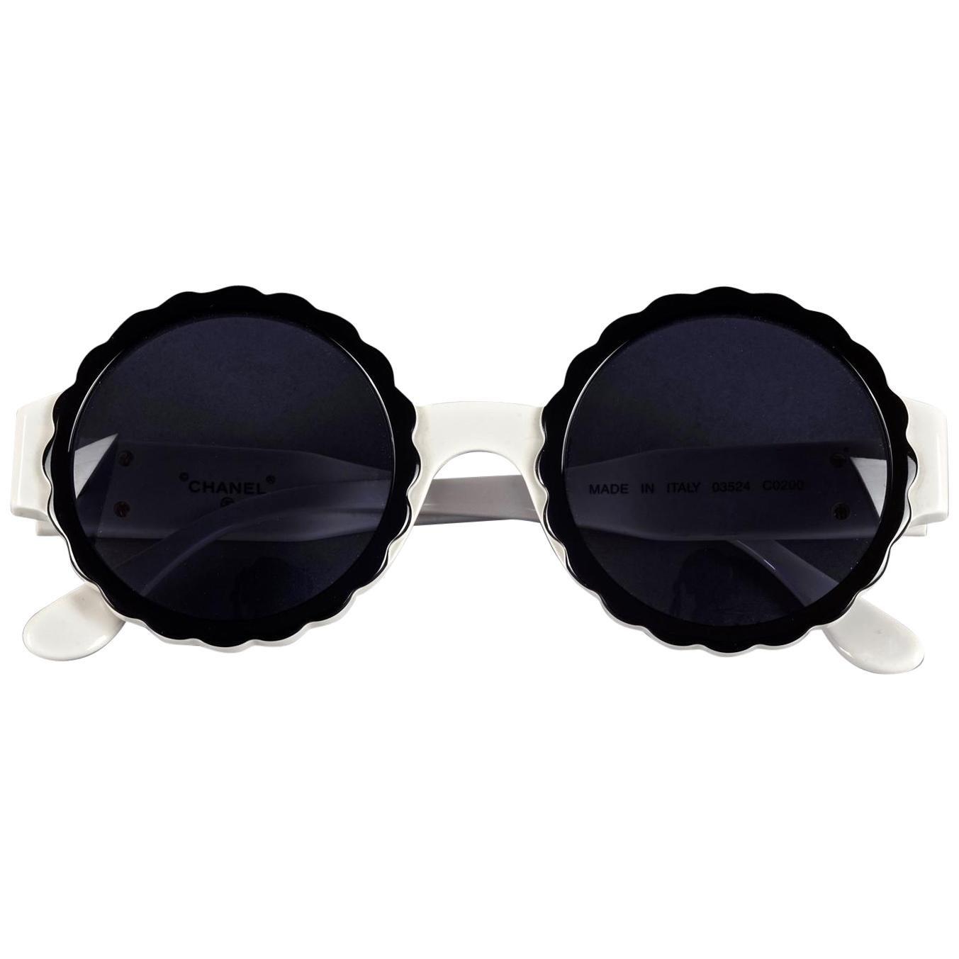 Vintage 1993 Iconic CHANEL PARIS Camellia Round Sunglasses