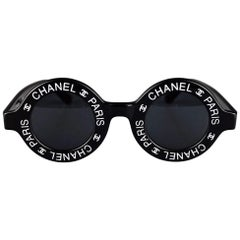 Vintage 1993 Iconic CHANEL PARIS CC Logo Round Black Sunglasses