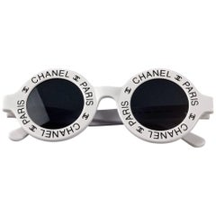 Vintage 1993 Iconic CHANEL PARIS CC Logo Round White Sunglasses