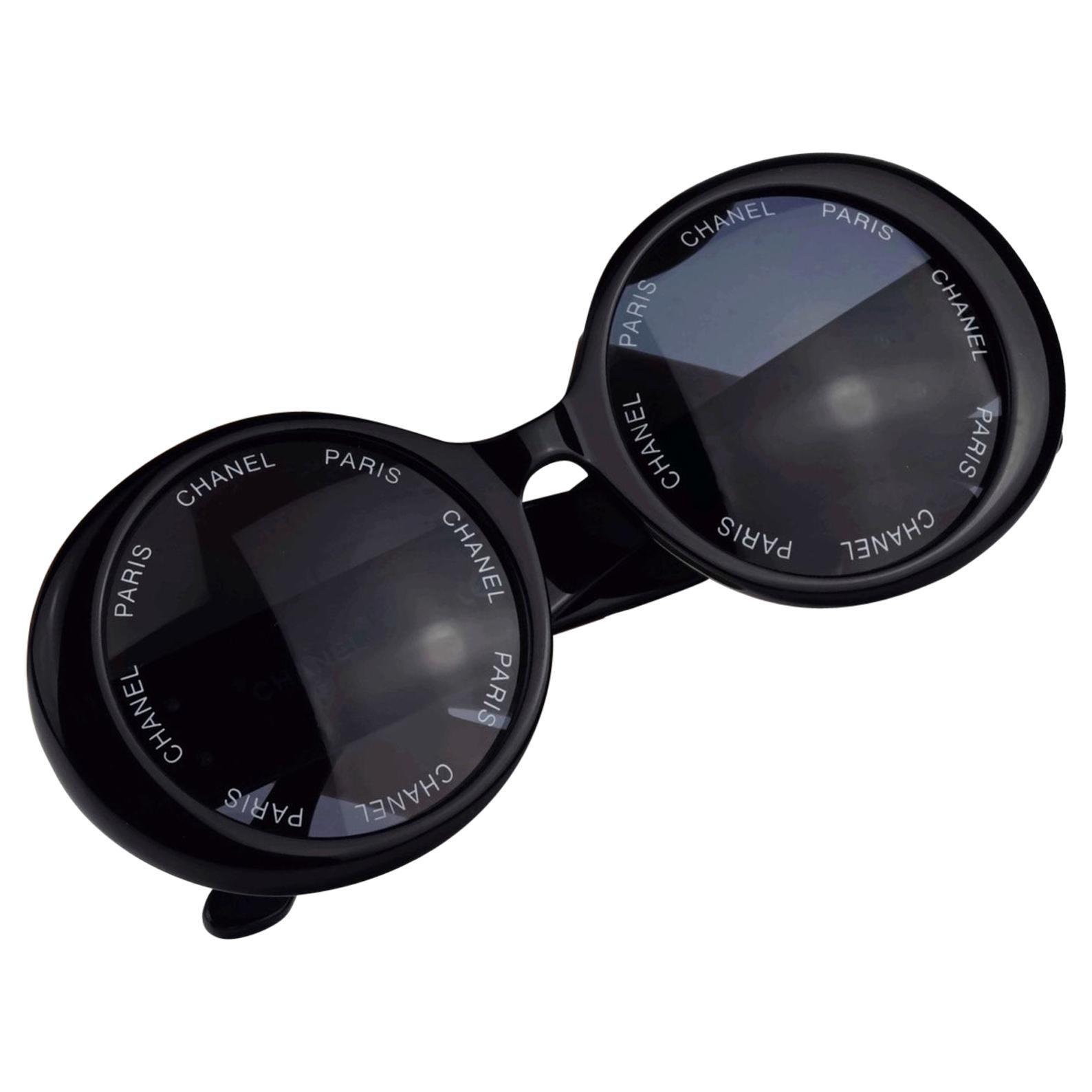 Vintage 1993 Iconic CHANEL PARIS Lens Round Black Sunglasses As Seen On Rihana