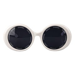 Vintage 1993 Iconic CHANEL PARIS Lens Round White Sunglasses As Seen On Rihana