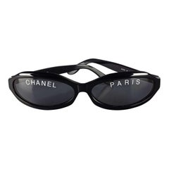 Vintage 1993 Iconic CHANEL PARIS Spelled Narrow Frame Black Sunglasses