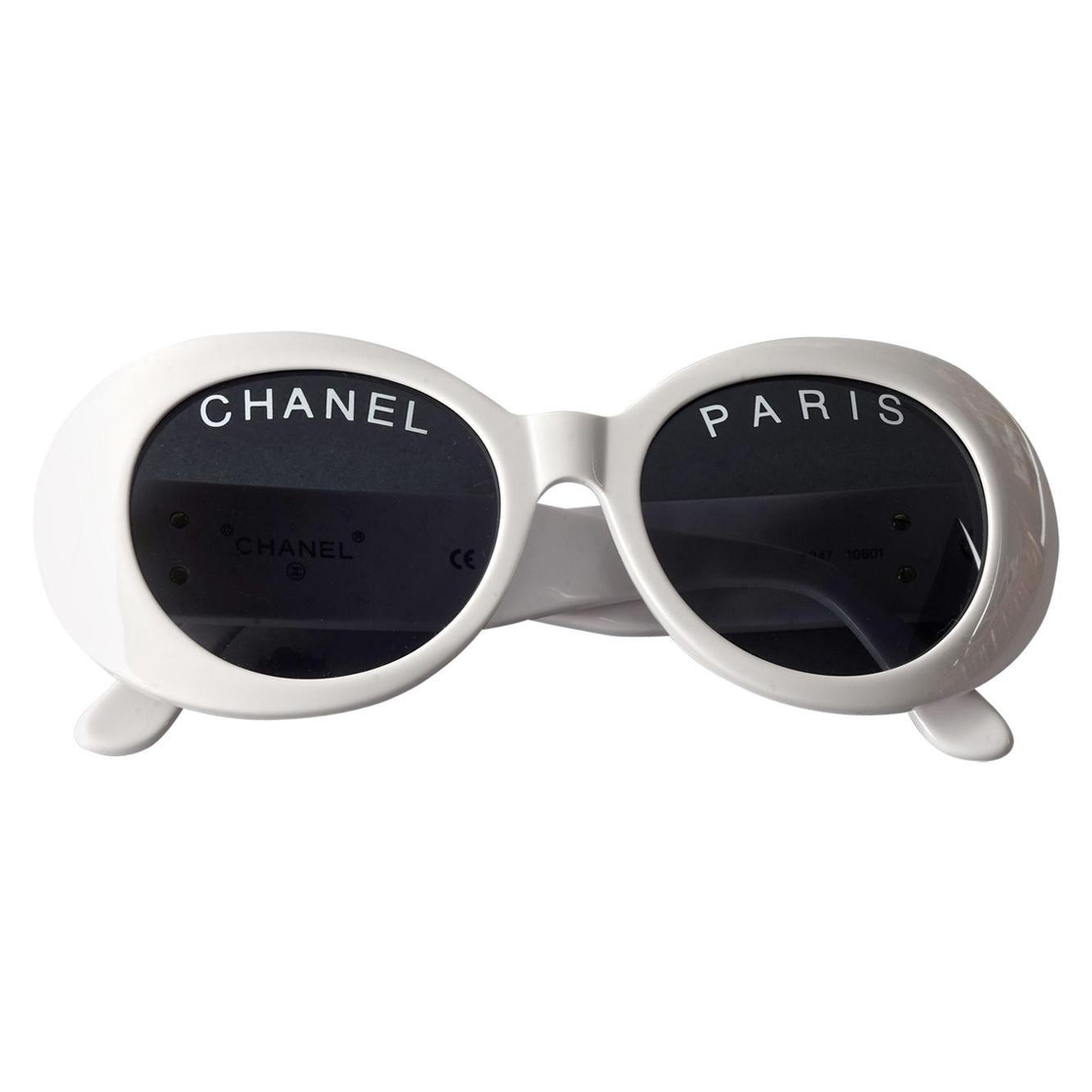 Vintage 1993 Iconic CHANEL PARIS Spelled White Sunglasses
