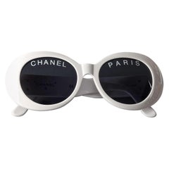 Vintage 1993 Iconic CHANEL PARIS Spelled White Sunglasses