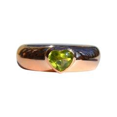 Vintage 1993 Tiffany & Co. 18 Karat Rose Gold .74 Carat Peridot Heart Ring