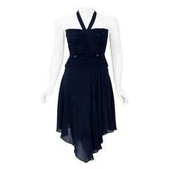 Vintage 1994 Chanel Navy-Blue Silk Halter Bustier and Asymmetric Draped Skirt