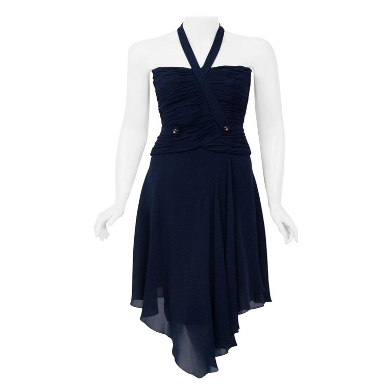 Vintage 1994 Chanel Navy-Blue Silk Halter Bustier & Asymmetric Draped Skirt For Sale