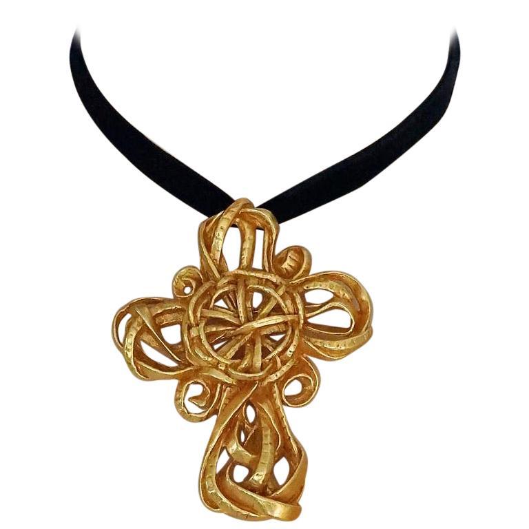Vintage 1994 CHRISTIAN LACROIX Torsade Cross Brooch Pendant Necklace For Sale