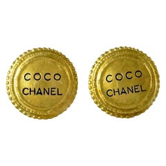 Vintage 1994 COCO CHANEL Medallion Disc Earrings