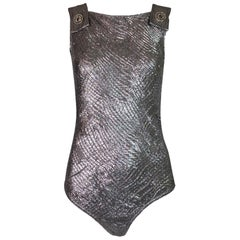 Vintage 1994 Gianni Versace Couture Metallic Silver Pinafore Bodysuit Top 40