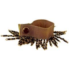 Vintage 1994 RARE CHANEL Gripoix Fringe Leather Cuff Bracelet