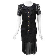Vintage 1995 Chanel Black Lace & Sheer Silk Slip Dress w/ Camellia Button Blouse