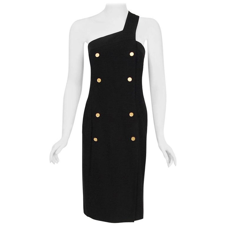 Vintage 1995 Chanel Black Linen One Shoulder Asymmetric Double-Breasted Dress For Sale