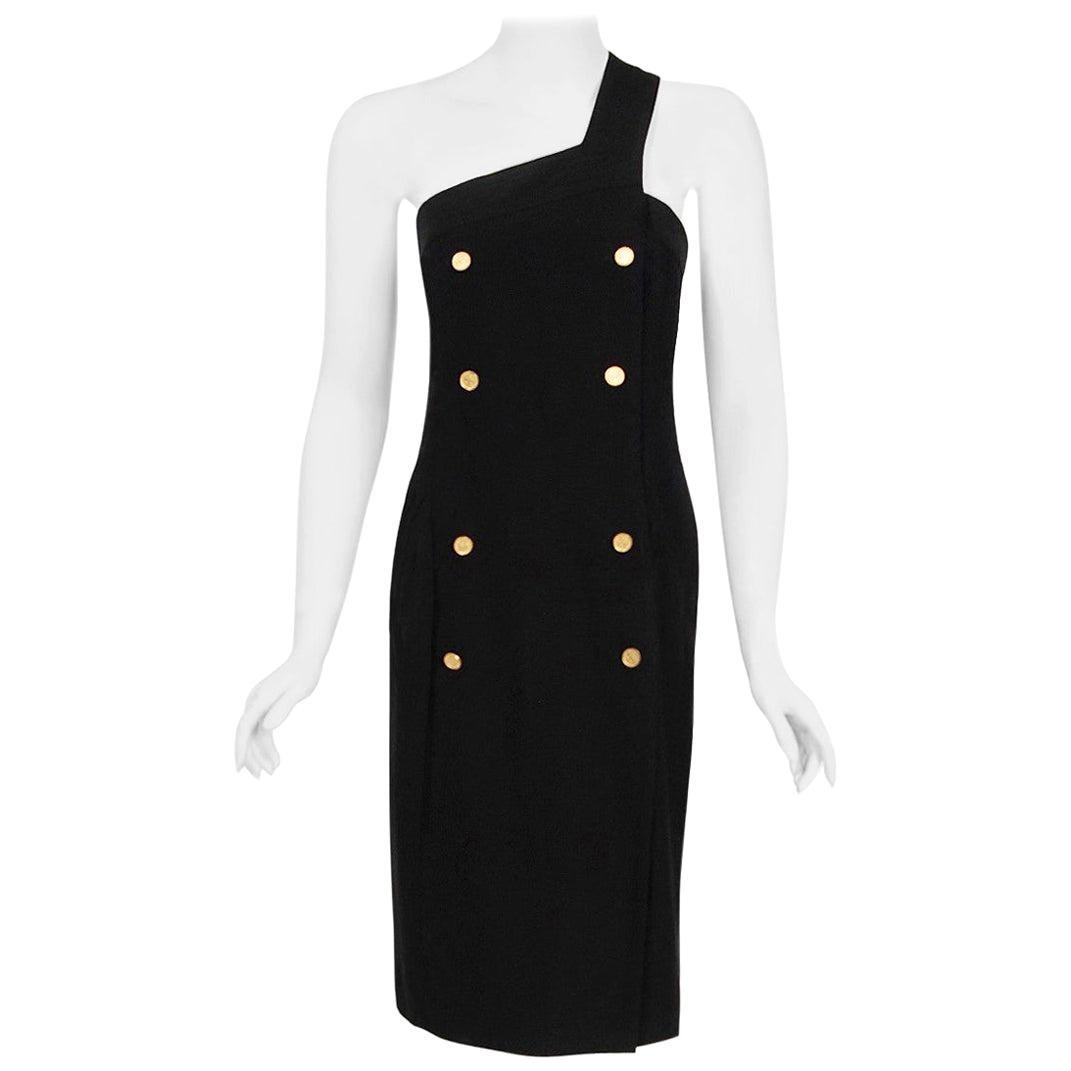 Vintage 1995 Chanel Black Linen One Shoulder Asymmetric Double-Breasted Dress
