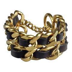 Vintage 1995 CHANEL Double Leather Chain Cuff Bracelet