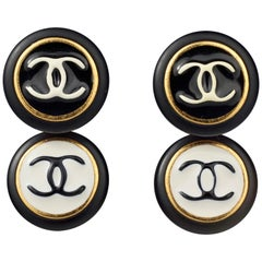 Vintage 1995 CHANEL Logo Double Disc Black and White Enamel Earrings