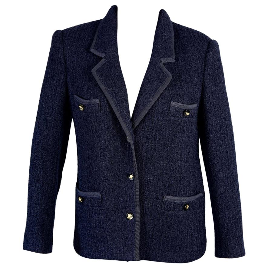 Vintage 1995 CHANEL Navy Blue Tweed Lucky Charm Button Jacket
