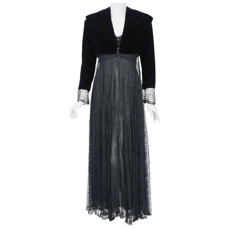 Vintage 1995 Karl Lagerfeld for Chloe Black Spiderweb Lace Velvet Dress & Jacket For Sale