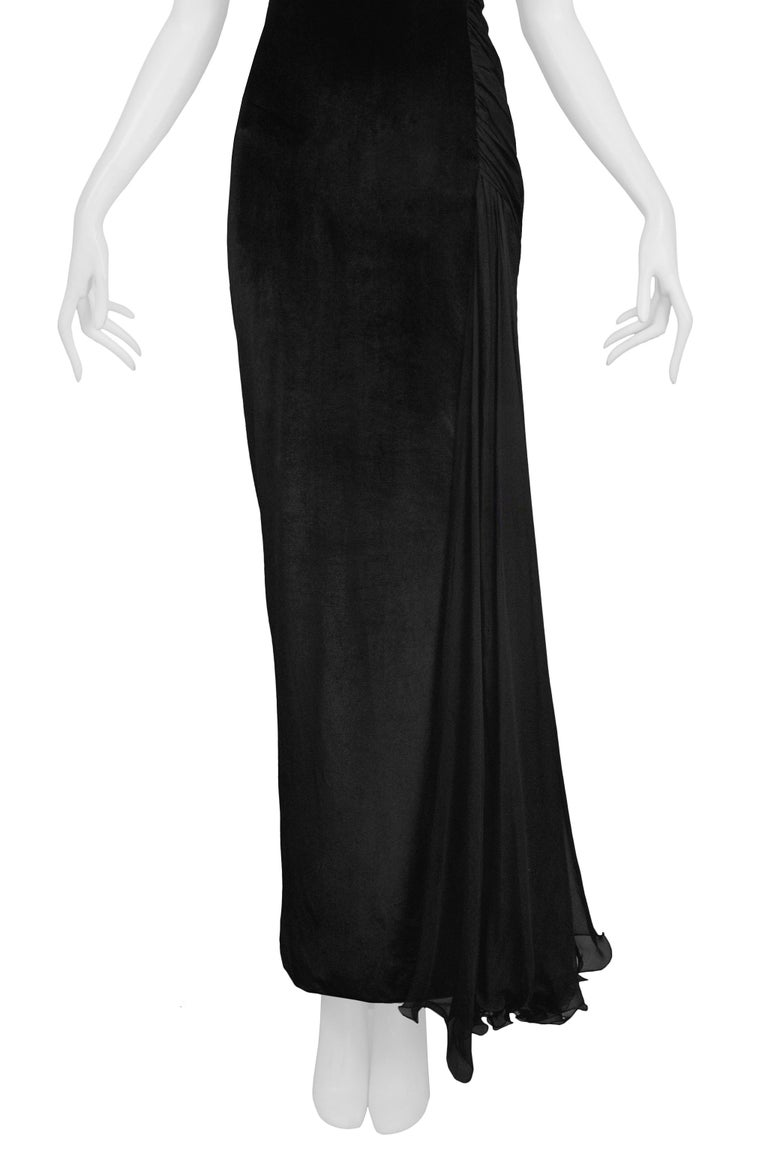 Vintage 1995 Versace Black Velvet Runway Evening Gown  In Excellent Condition For Sale In Los Angeles, CA